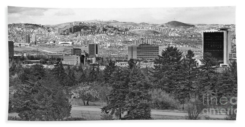 Ankara Turkey Hand Towel featuring the photograph Ankara - Bw by Onie Dimaano