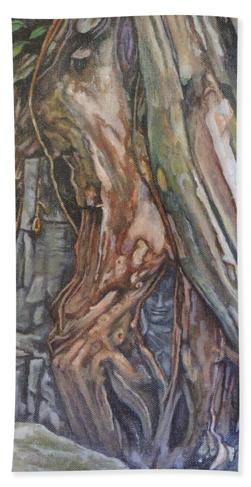 Trees Bath Sheet featuring the painting Ankor Temple Trees by Jodi Higgins