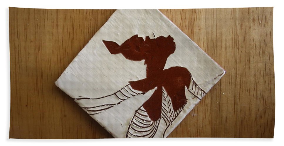 Jesus Bath Sheet featuring the ceramic art Anne Marie - Tile by Gloria Ssali