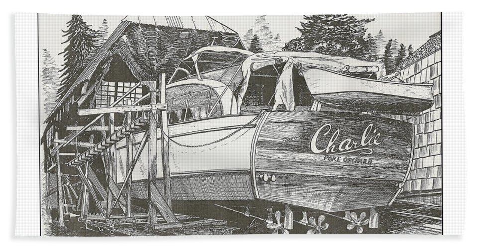 Nautical Yacht Portraits Bath Sheet featuring the drawing Annual Haul Out Chris Craft Yacht by Jack Pumphrey
