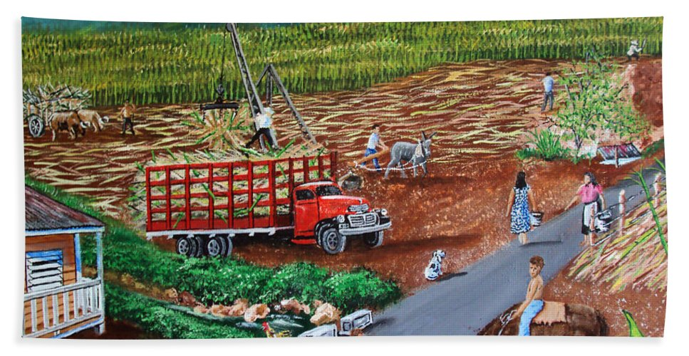 Sugarcane Field Bath Sheet featuring the painting Anoranzas by Luis F Rodriguez