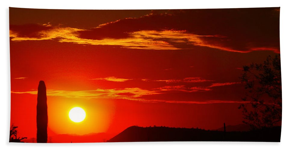 Sunset Hand Towel featuring the photograph Another Beautiful Arizona Sunset by James BO Insogna