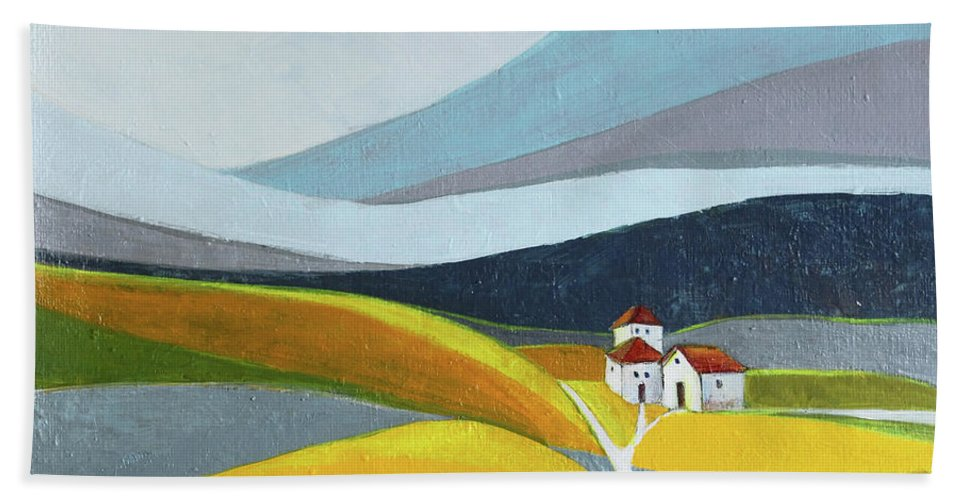 Landscape Bath Sheet featuring the painting Another Day On The Farm by Aniko Hencz