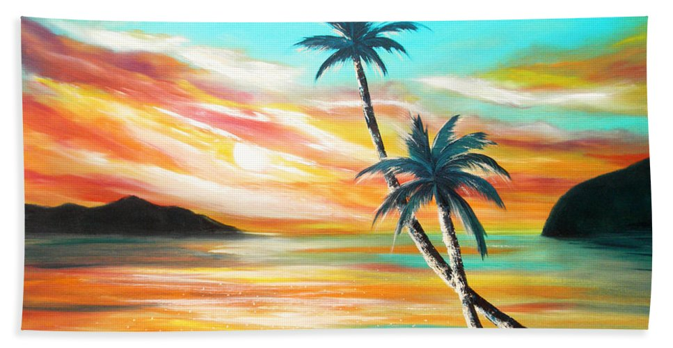 Sunset Bath Towel featuring the painting Another Sunset In Paradise by Gina De Gorna