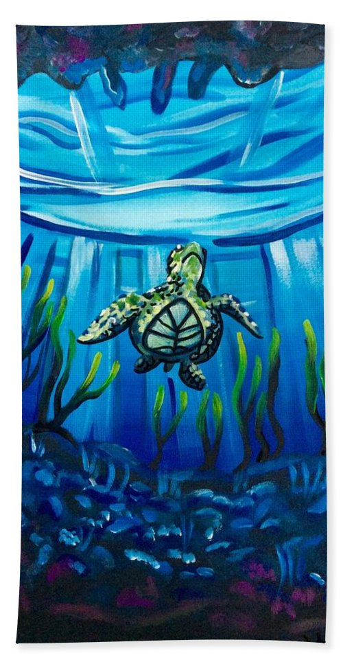 Under The Sea Ocean Life Marine Cold Tropical Warm Reef Sea Turtle View Seaweed Rocky Coral Reef Reflection Light Surface Glistening Swim Hand Towel featuring the painting Another World by Lori Teich