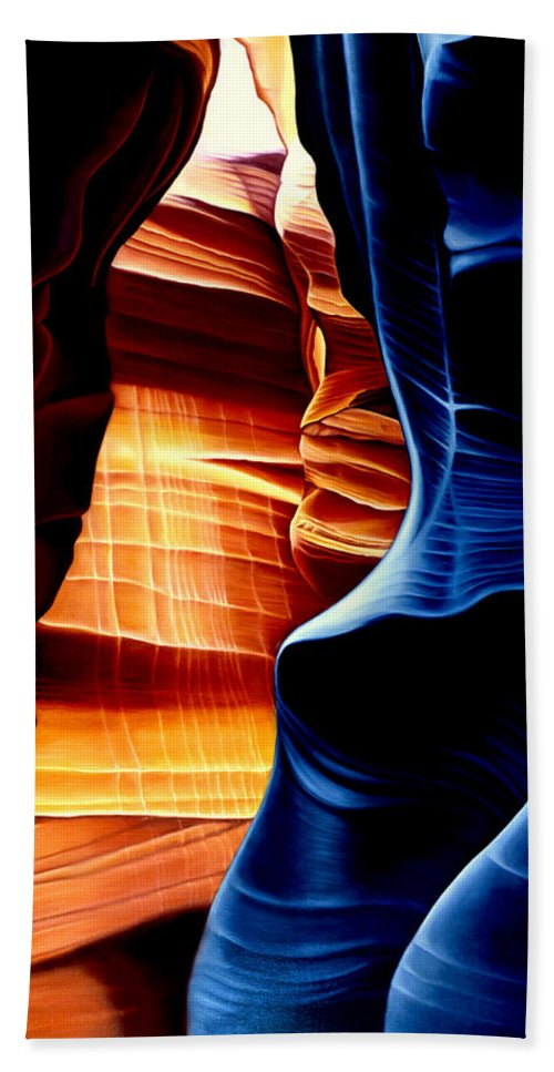 Landscape Bath Sheet featuring the painting Antelope Canyon by Anni Adkins