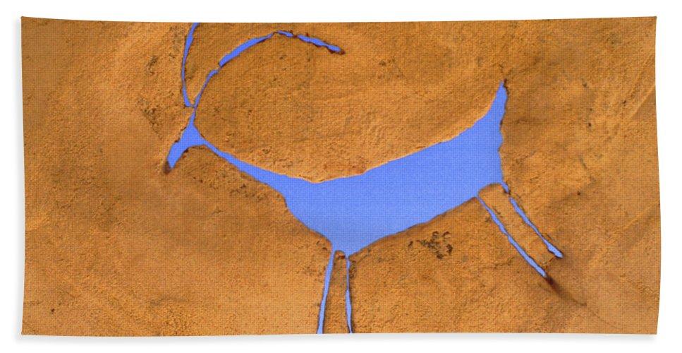 Anasazi Bath Sheet featuring the photograph Antelope Petroglyph by Jerry McElroy