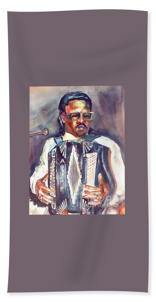 Accordian Bath Towel featuring the painting Anthony by Beverly Boulet