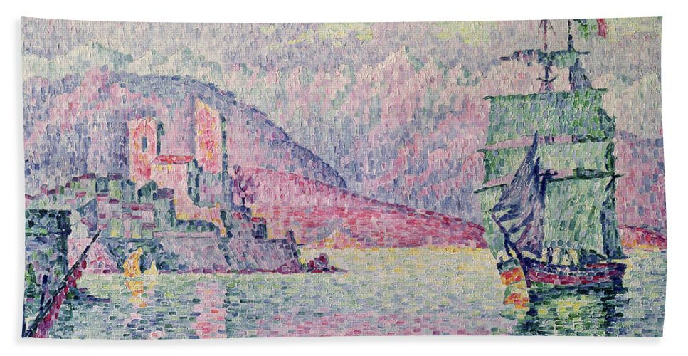 Antibes Hand Towel featuring the painting Antibes by Paul Signac