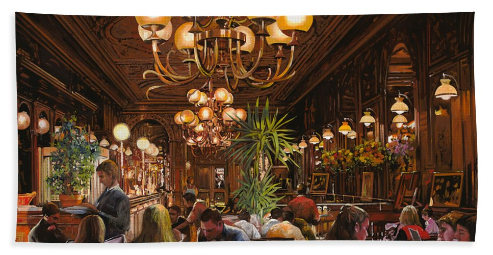Brasserie Hand Towel featuring the painting Antica Brasserie by Guido Borelli
