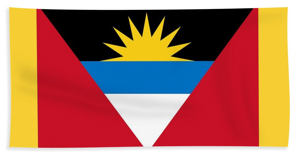 Flag Hand Towel featuring the digital art Antigua And Barbuda Flag by Frederick Holiday