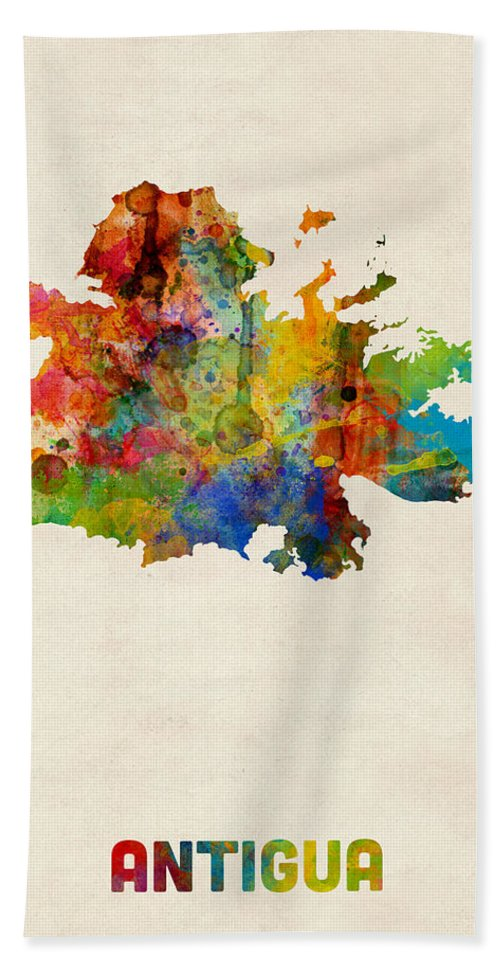 Map Art Hand Towel featuring the digital art Antigua Watercolor Map by Michael Tompsett