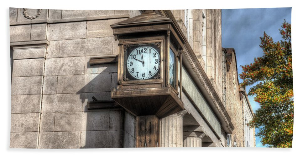 Bank Bath Sheet featuring the photograph Antique Clock Edenton North Carolina by Greg Hager