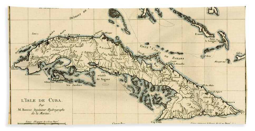 Maps Hand Towel featuring the drawing Antique Map Of Cuba by Guillaume Raynal