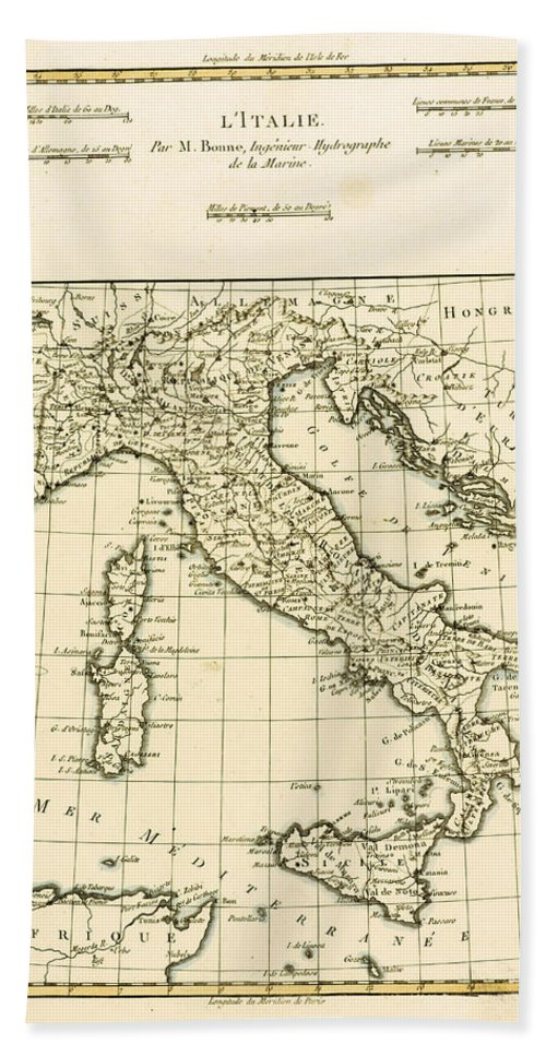 Maps Bath Towel featuring the drawing Antique Map Of Italy by Guillaume Raynal