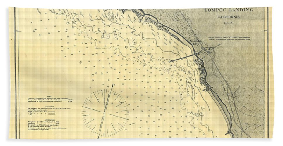 Antique Maps - Old Cartographic Maps - Antique Map Of Lompoc Landing on
