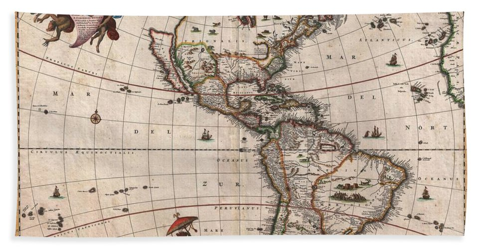Antique Maps - Old Cartographic Maps - Antique Map Of North And South  America, 1658 Bath Towel
