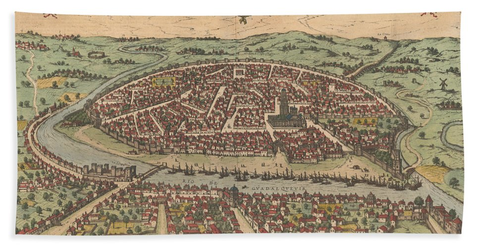 Antique Maps - Old Cartographic Maps - Antique Map Of Seville ...