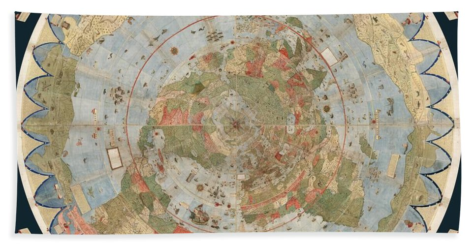 Flat Earth Map Bath Towel featuring the drawing Antique Maps - Old Cartographic maps - Flat Earth Map - Map of the World by Studio Grafiikka