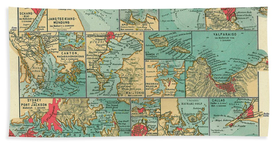 Antique Maps - Old Cartographic Maps - Sea Ports Along The Pacific on tahiti map pacific, world war ii pacific, world map pacific, garbage island pacific, silestone pacific, war in pacific,