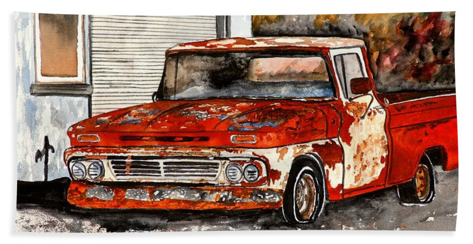Transportation Hand Towel featuring the painting Antique Old Truck Painting by Derek Mccrea