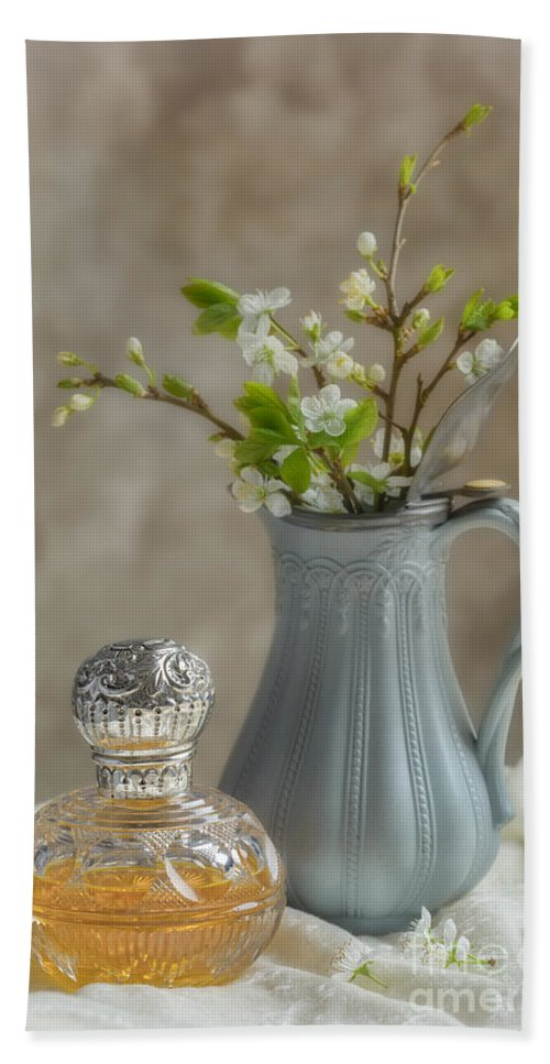 Perfume Hand Towel featuring the photograph Antique Perfume Bottle by Amanda Elwell