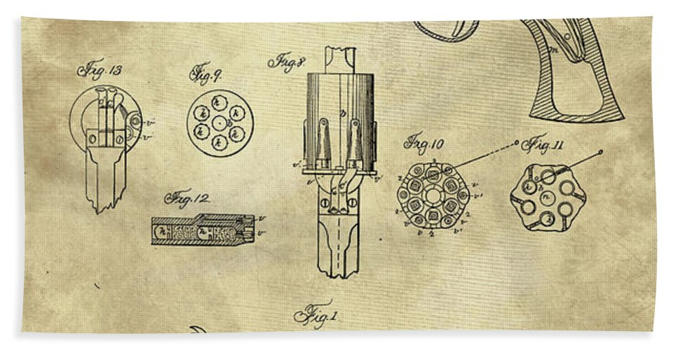 Antique revolver blueprint hand gun patent drawing plan from 1859 1859 hand towel featuring the drawing antique revolver blueprint hand gun patent drawing plan from 1859 malvernweather Image collections