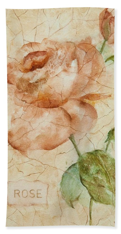 Rose Bath Towel featuring the painting Antique Rose by Debbie Lewis