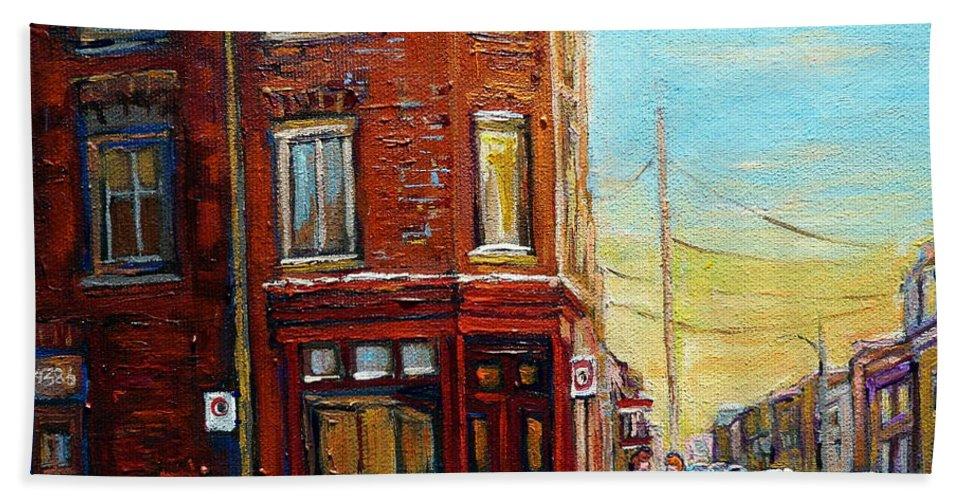 Montreal Bath Sheet featuring the painting Antique Shop In Saint Henri by Carole Spandau