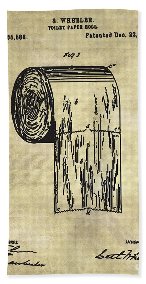 Antique toilet paper roll blueprint patent illustration bath towel bathroom art bath towel featuring the painting antique toilet paper roll blueprint patent illustration by tina malvernweather
