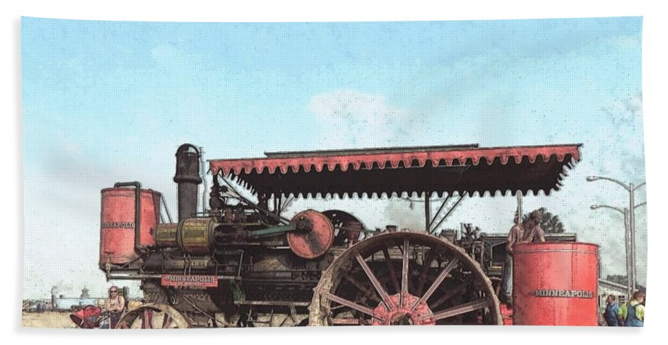 Wmstr Bath Sheet featuring the photograph Antique Tractor - Rollag, Minnesota by Curtis Tilleraas