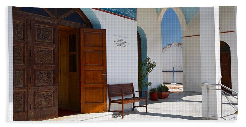 Mediterranean Bath Sheet featuring the photograph antirrio church 'I by Milan Gonda