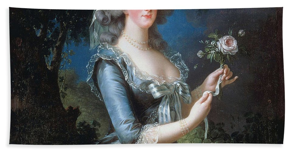 Marie-antoinette With The Rose Marie-antoinette Dit à La Rose Élisabeth Vigée Le Brun Bath Sheet featuring the painting Antoinette With The Rose Marie by MotionAge Designs