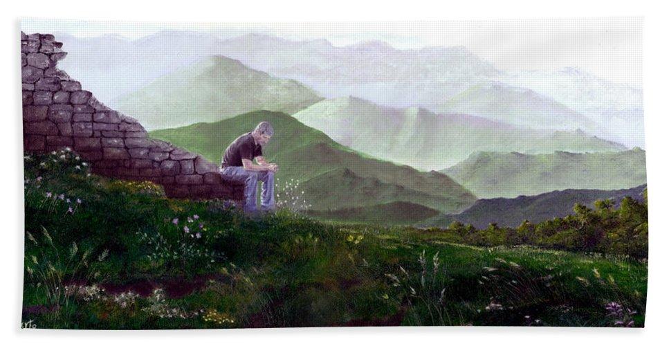 Italy Hand Towel featuring the painting Antonio Atop La Rocca De Monte Calvo by Albert Puskaric