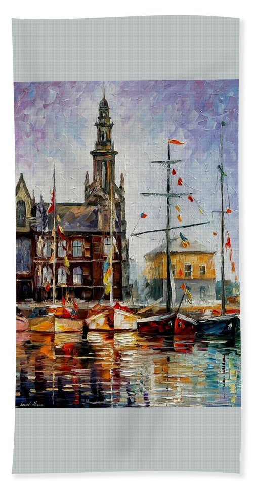 Afremov Bath Sheet featuring the painting Antwerp - Belgium by Leonid Afremov