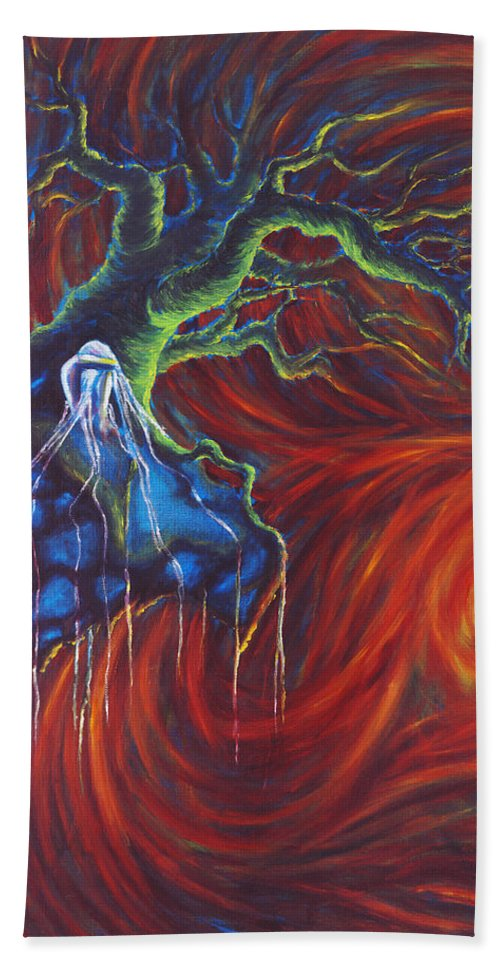 Tree Paintings Bath Towel featuring the painting Anxiety by Jennifer McDuffie