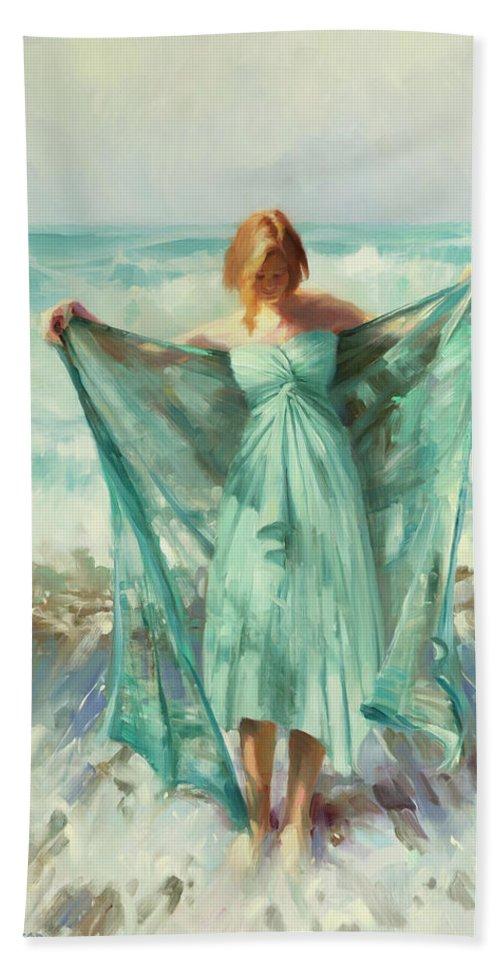 Ocean Bath Towel featuring the painting Aphrodite by Steve Henderson