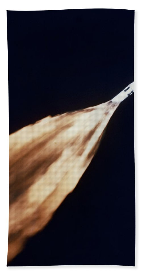 1968 Bath Sheet featuring the photograph Apollo 6 Spacecraft Leaves A Fiery by Stocktrek Images
