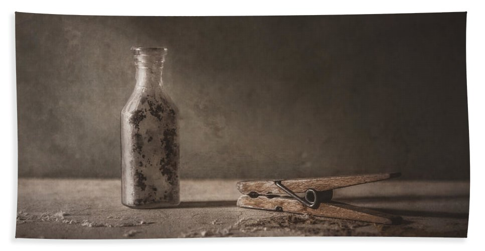 Scott Norris Photography Bath Towel featuring the photograph Apothecary Bottle And Clothes Pin by Scott Norris