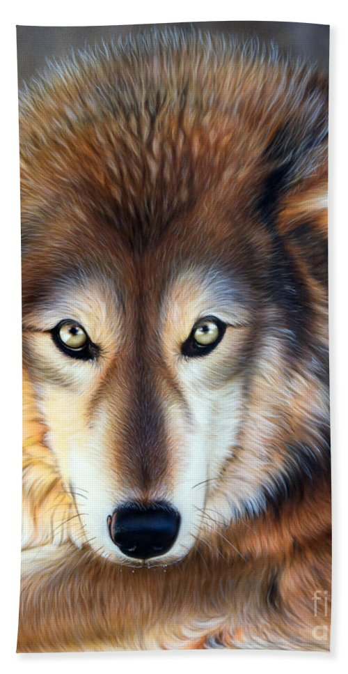 Wolf Bath Sheet featuring the painting Apparition by Sandi Baker