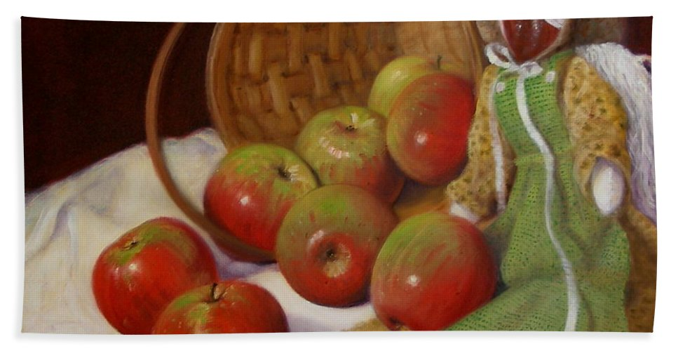 Realism Bath Sheet featuring the painting Apple Annie by Donelli DiMaria