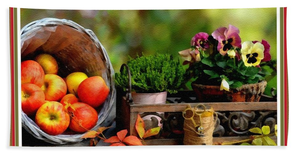 Still Life Hand Towel featuring the digital art Apple Basket And Other Objects Still Life L B With Alt. Decorative Ornate Printed Frame. by Gert J Rheeders