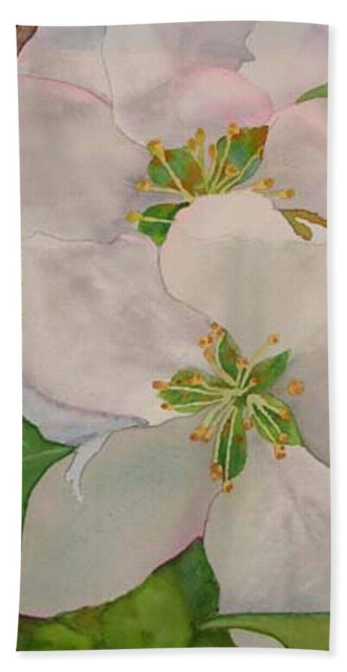 Apple Blossoms Bath Towel featuring the painting Apple Blossoms by Sharon E Allen