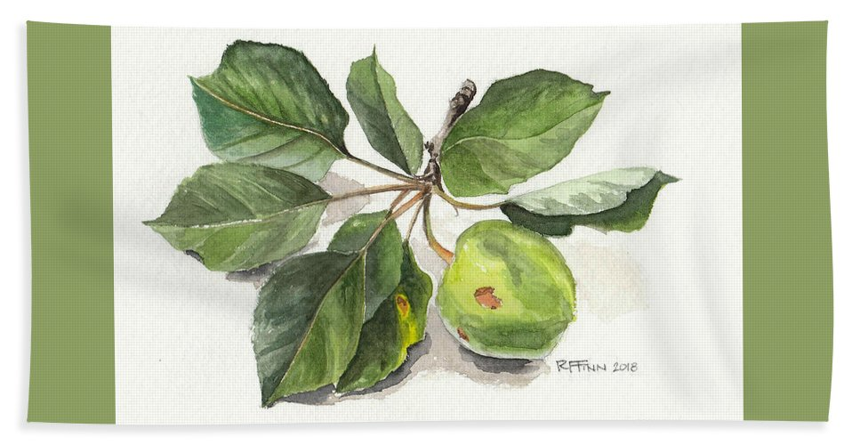 Flora Hand Towel featuring the painting Apple Branch by Rowena Finn