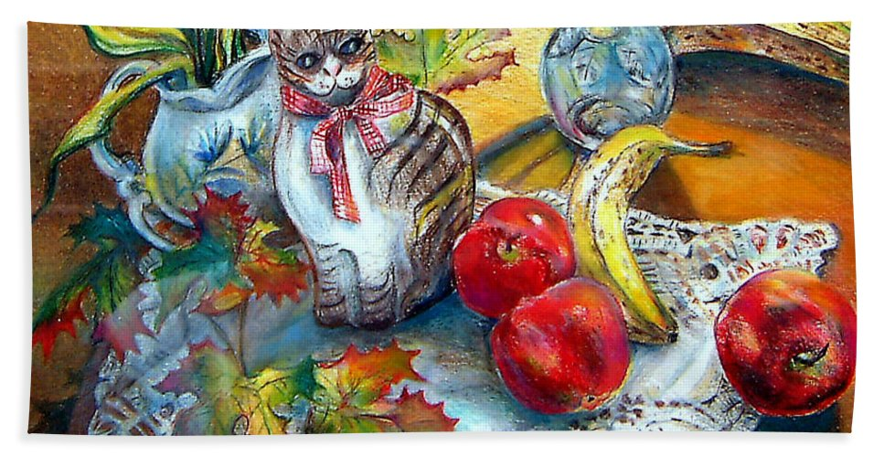 Cat Bath Sheet featuring the painting Apple Cat by Linda Shackelford