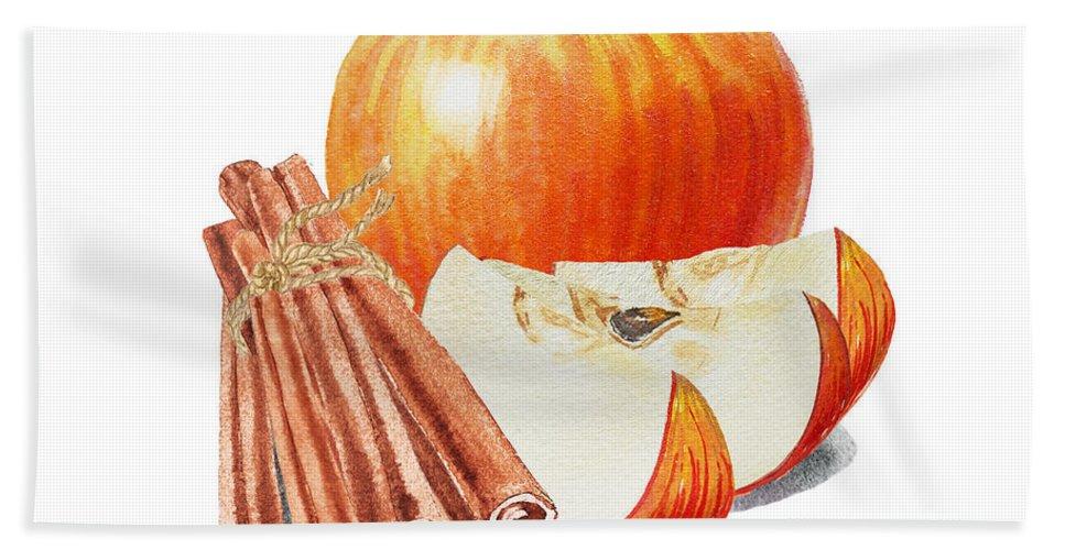 Apple Hand Towel featuring the painting Apple Cinnamon by Irina Sztukowski