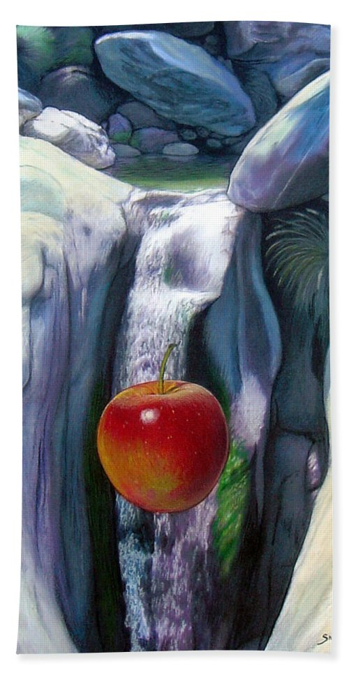 Apples Bath Towel featuring the digital art Apple Falls by Snake Jagger