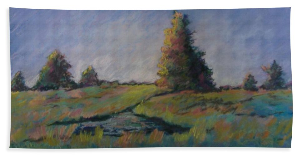 Landscape Hand Towel featuring the pastel Apple Pond by Pat Snook
