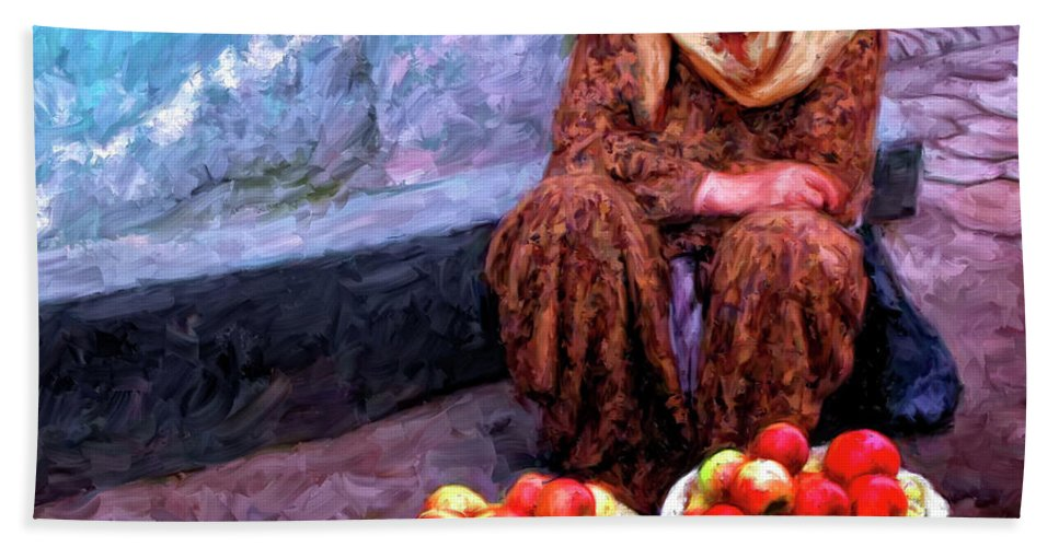 Apple Seller Hand Towel featuring the painting Apple Seller by Dominic Piperata