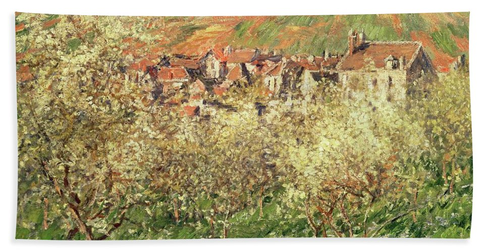 Monet Bath Towel featuring the painting Apple Trees In Blossom by Claude Monet